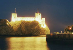 Ancient fort in Muscat Harbor, Oman.