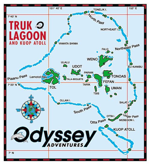 Dive TRUK ODYSSEY Truk Lagoon liveaboard with US Dive Travel – Odyssey Travel Map