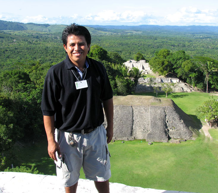 Xunantunich Ruins, central pyramid, Belize countryside visa, tour guide Hector Bol.